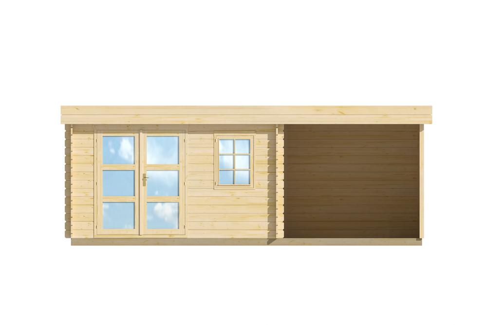 Abri de jardin avec pergola lillevilla 283 de 14m2 44mm - Abri de jardin 10m2 bois ...