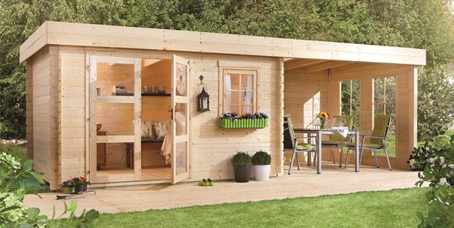 abri de jardin avec pergola lillevilla 283 de 14m2 44mm. Black Bedroom Furniture Sets. Home Design Ideas