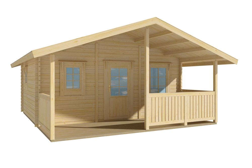 Grand abri de jardin en bois de 20m2 avec terrasse for Grand abri jardin