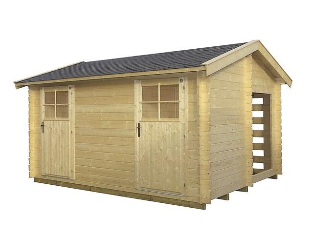 Abri de jardin en bois lillevilla 93 de 11 7m 28mm avec for Abri de jardin 34mm